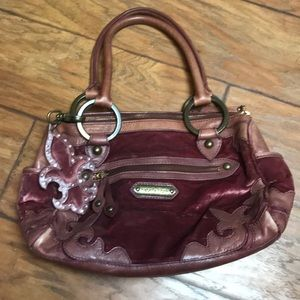 ISABELLA FIORE VELVET AND LEATHER SATCHEL BAG!